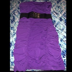 Strapless purple ruched mini dress with belt